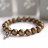 Brown Shell Pearl Bracelet with Sterling Silver Dolphin Charm