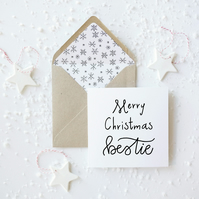 Merry Christmas Bestie, hand lettered luxury Christmas card