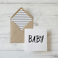 Baby, hand lettered luxury baby shower card