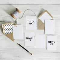 Thank You, hand lettered luxury mininote notecards