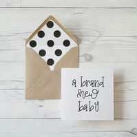 A Brand New Baby, hand lettered luxury card