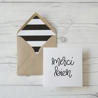 Merci Bien, French thank you hand lettered card