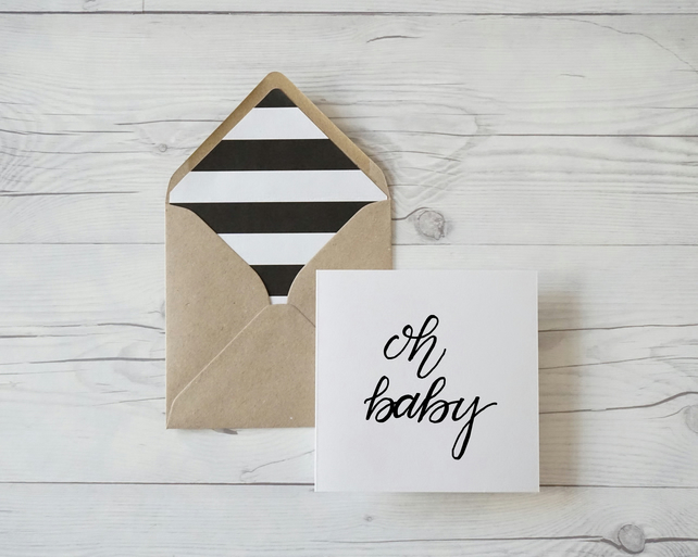 Oh Baby, hand lettered luxury new baby card