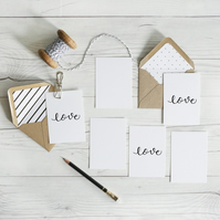 Love, hand lettered luxury mininote notecards