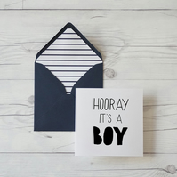 Hooray It's A Boy, hand lettered new baby card