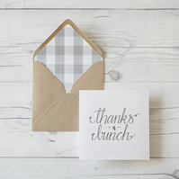 Thanks a Bunch, hand lettered luxury thank you card