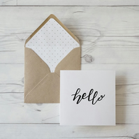 Hello, hand lettered luxury blank greeting card