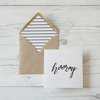 Hooray, hand lettered luxury congratulations card