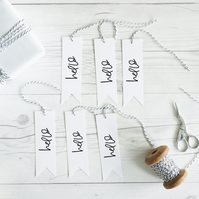 Hello, hand lettered gift tags, set of 12