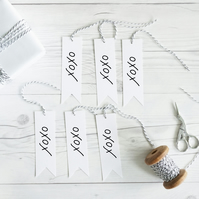 XOXO, hand lettered gift tags, set of 12