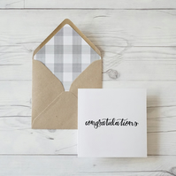 Congratulations, hand lettered luxury greeting card