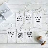 Baked with Love, hand lettered gift tags, set of 12