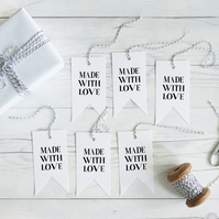 Made with Love, hand lettered gift tags, set of 12