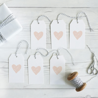 Blush heart, hand lettered gift tags, set of 12