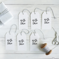 With Love, hand lettered gift tags, set of 12