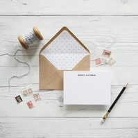 Personalised hand lettered luxury notecards, Bernice style