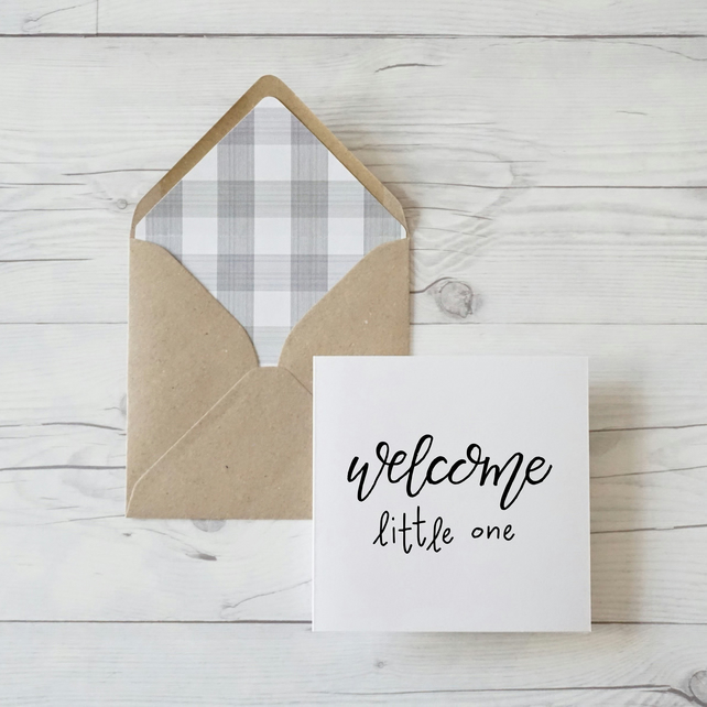 Welcome Little One, hand lettered baby shower card