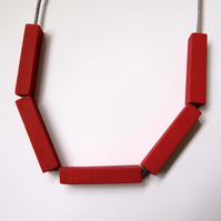Handmade Red Wood Wooden Bead Beaded Bar Tube Necklace - Minimalist Geometric