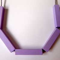 Handmade Light Pastel Purple Wood Wooden Bead Beaded Bar Tube Necklace