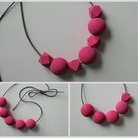 Handmade Bright Pink Wood Wooden Bead Beaded Necklace - Minimalist Geometric