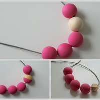 Handmade Bright Pink & Natural Wood Wooden Bead Beaded Necklace - Minimalist