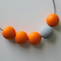 Handmade Bright Orange & Grey Wood Wooden Bead Beaded Necklace - Minimalist
