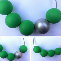 Handmade Green & Silver Wood Wooden Bead Beaded Necklace - Minimalist Geometric