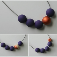 Handmade Dark Purple & Copper Wood Wooden Bead Beaded Necklace - Minimalist
