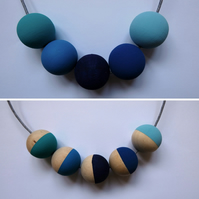 Handmade BLUES Multicoloured Wood Wooden Bead Beaded Necklace - Minimalist