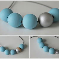 Handmade Baby Light Pastel Blue & Silver Wood Wooden Bead Beaded Necklace