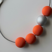 Handmade Peach Orange & Silver Wood Wooden Bead Beaded Necklace - Minimalist