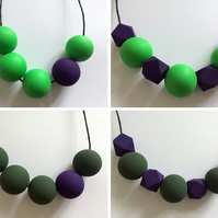 Handmade HALLOWEEN Purple & Green Wood Wooden Bead Beaded Necklace - Minimalist