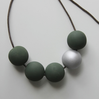 Handmade Dark Khaki Green & Silver Wood Wooden Bead Beaded Necklace - Minimalist