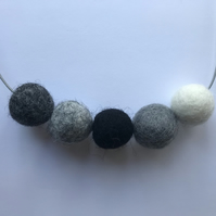 Handmade MONOCHROME Multicoloured Felt Ball Bead Necklace - Minimalist