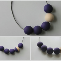 Handmade Dark Purple & Natural Wood Wooden Bead Beaded Necklace - Minimalist