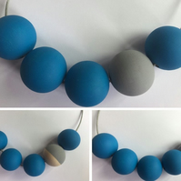 Handmade Blue & Grey Wood Wooden Bead Beaded Necklace - Minimalist Geometric