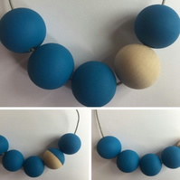 Handmade Blue & Natural Wood Wooden Bead Beaded Necklace - Minimalist Geometric