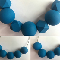Handmade Blue Wood Wooden Bead Beaded Necklace - Minimalist Geometric Contrast
