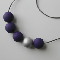 Handmade Dark Purple & Silver Wood Wooden Bead Beaded Necklace - Minimalist