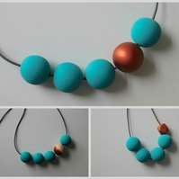 Handmade Turquoise & Copper Wood Wooden Bead Beaded Necklace - Minimalist