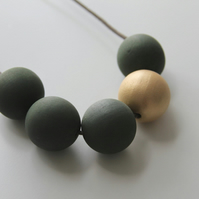 Handmade Dark Khaki Green & Gold Wood Wooden Bead Beaded Necklace - Minimalist