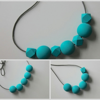 Handmade Turquoise Wood Wooden Bead Beaded Necklace - Minimalist Geometric