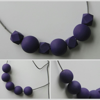 Handmade Dark Purple Wood Wooden Bead Beaded Necklace - Minimalist Geometric