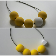 Handmade Yellow & White Wood Wooden Bead Beaded Necklace - Minimalist Geometric
