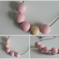 Handmade Baby Light Pastel Pink & Natural Wood Wooden Bead Beaded Necklace