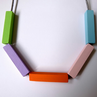 Handmade Multicoloured PASTELS Wood Wooden Bead Beaded Bar Tube Necklace