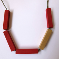Handmade CHRISTMAS Red & Gold, Green Wood Wooden Bead Beaded Bar Tube Necklace