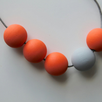 Handmade Peach Orange & Grey Wood Wooden Bead Beaded Necklace - Minimalist