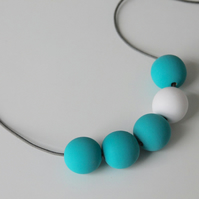 Handmade Turquoise & White Wood Wooden Bead Beaded Necklace - Minimalist