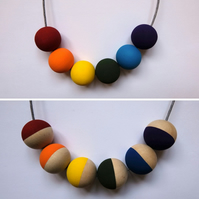 Handmade PRIDE Rainbow LGBTQ Multicoloured Bright Wooden Beaded Necklace